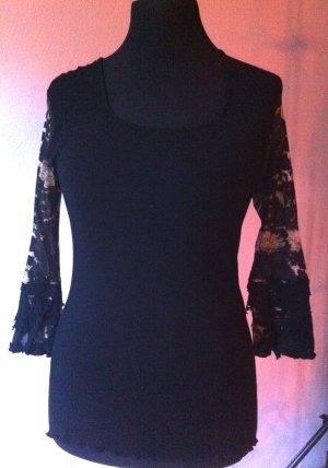 Shirt schwarz, mit flippigem 3/4 Arm