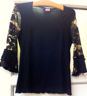 Shirt schwarz, mit gemustertem 3/4 Arm