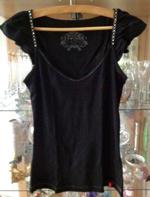 Shirt schwarz mit spitzen flügelchen an den Schultern