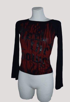 Shirt schwarz rot mit Schrift, Gr. S, gothic