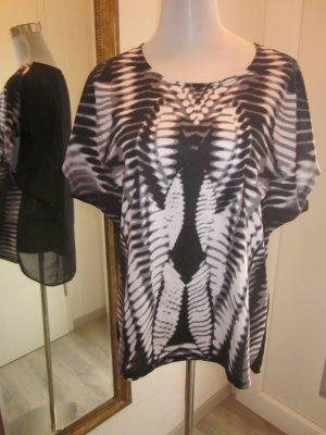 Shirt schwarz weiss Batik hinten Transparent Gr L