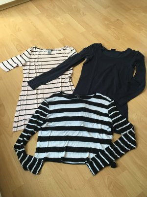 Shirt Set Longsleeve Marine Pieces Mango H&M blau schwarz weiß rosa S 36 38