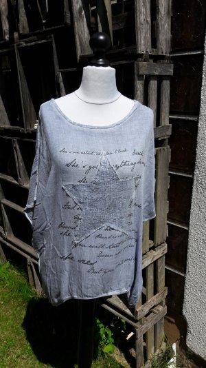 Oversized blouse azuur Katoen