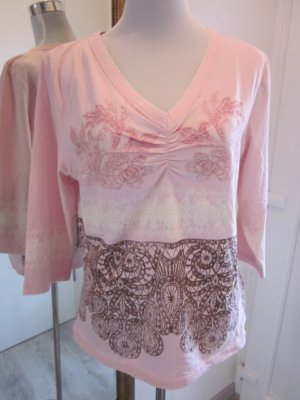Shirt Strech Rosa Muster Gr 44   3/4 Arm