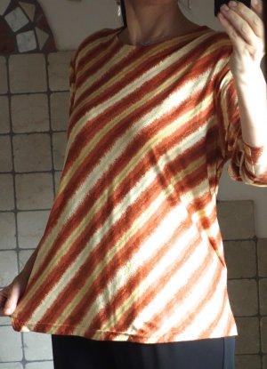 Shirt Streifen, orange, rost, beige, gelb - diagonal, etwas gold, 3/4 Arm, Polyester, hübsches Streifenmuster, effektvoll, frische Farben, weiches Material, seidig, neuwertig, Gr. M/L Gr. 40/42
