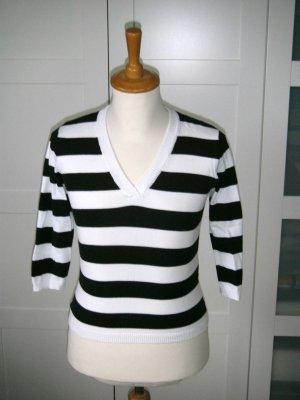 Shirt, Streifenshirt, leichter Pullover, H&M, schwarz-weiß gestreift, Gr. S