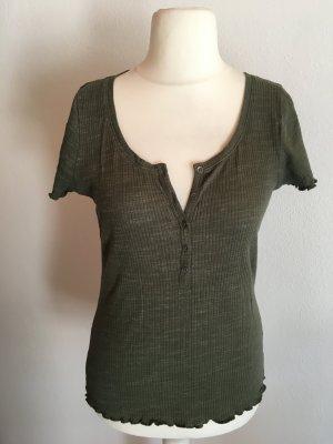 Shirt T-Shirt Basic khaki mit Knopfleiste Gr. L
