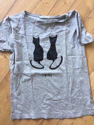 Shirt T-shirt Cats Katzen Mango Gr. S grau