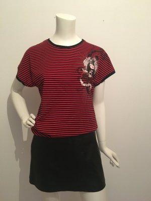Shirt T-shirt Fledermaus Kimono Ärmel angeschnitten Ringel streifen stripes gestreift geringelt rot schwarz rundhals Print cool lässig large l 40 miss sixty Energie  Punk Rock