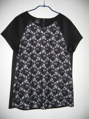 Shirt T-Shirt Gr. 42 schwarz Spitze MADELEINE