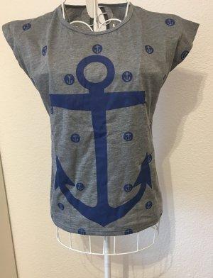 Shirt T-Shirt *Gr. L* Grau Blau mit Anker