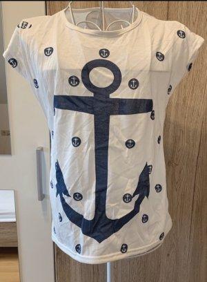 Shirt T-Shirt *Gr. M* Weiß Blau Anker