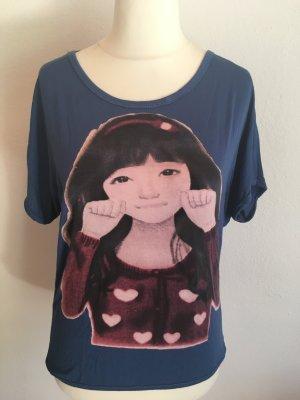 Shirt T-Shirt leicht locker blau mit Print süß Gr. M