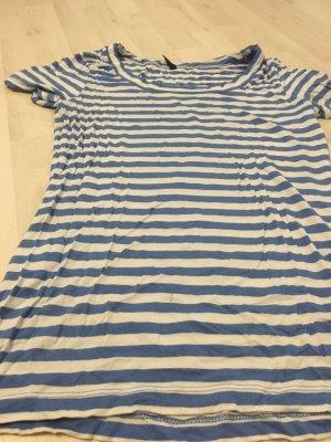 Amisu Lang shirt wit-blauw