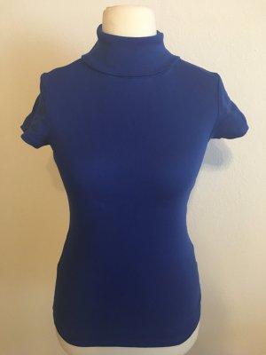 Shirt T-Shirt mit Rollkragen Basic blau Gr. S