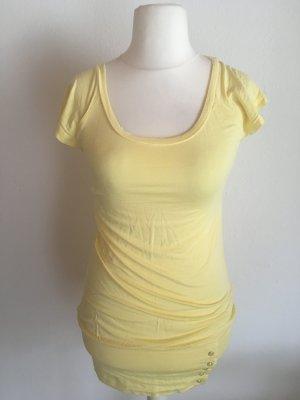 Shirt T-Shirt Oberteil Longshirt gelb weich mit Knopfliste Gr. M