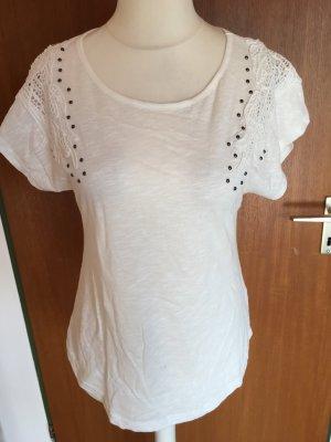 Shirt T-Shirt Oberteil weiß mit Spitze und Steinchen süss Gr. M