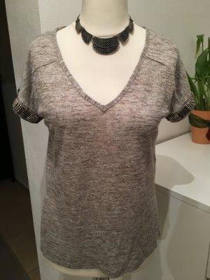 Shirt T-Shirt oversized beige meliert mit Steinchen Gr. 34 NEU