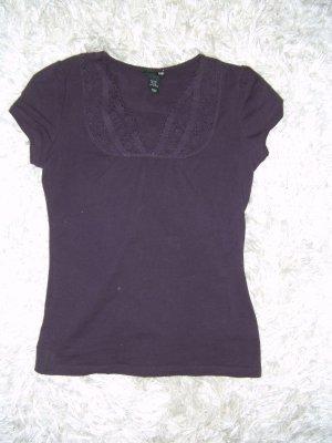 Shirt, T-Shirt, Spitzenshirt, dunkellila, Spitze, H&M, Gr. XS