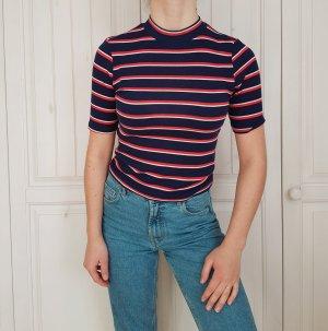 Shirt T-shirt tshirt croptop crop top streifen dunkelblau blau weiß rot S