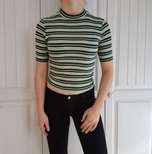 Shirt T-shirt tshirt croptop crop top streifen grün gelb bluse hemd S pulli pullover