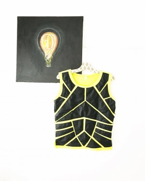 shirt / tanktop / vegan leather / gelb grün / 90s / 80s / granny / vintage