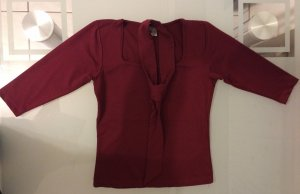 Shirt Top Bluse mit Schal Gr. S 34 36 bordeaux