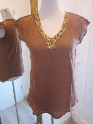 Shirt Top Braun mit Gold Perlen Gr M   Massiomo Dutti