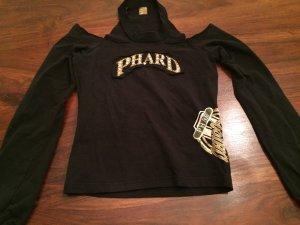 Shirt Top Cutouts Pailletten Glassteine Perlen Gold Schulterfrei von Phard NEU