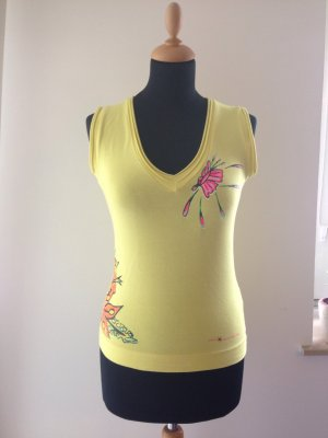 Shirt Top Jersey Print Neon Blumen gelb pink orange