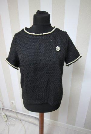 Shirt Top mit Perlen / Blume chic