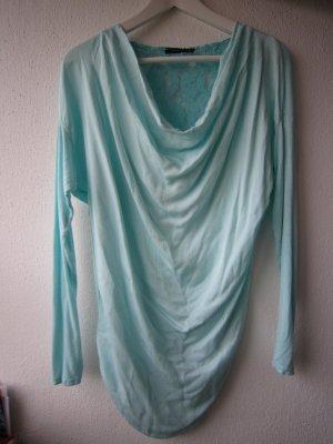 Shirt Top mit Spitze in Mint Türkis Gr. S