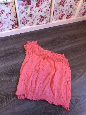 Shirt top rosa pink Sommer eine schulterfrei spitze one shoulder
