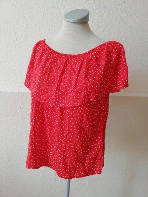 Shirt Top rot weiß Gr. 34 XS neu polkadots Oberteil Mint&berry