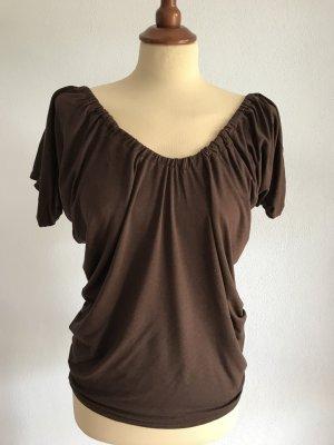 Shirt Top T-Shirt Mango Rüschen Vollants Braun Gr. S / 36 Bluse