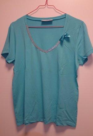 Shirt Top T-Shirt türkis hellblau mit Strasssteinen & Schleife von TUZZI, Gr. 42