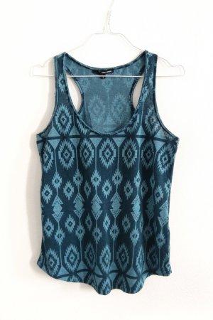 Shirt Top Tanktop mit boho Print blau petrol ethno Festival S-M / 38-40