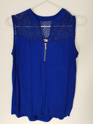 Shirt/Top von NafNaf blau mit Spitze Gr. S 36