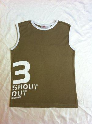 Shirt / Top von S.Oliver, Größe L, oliv , weiße Bündchen