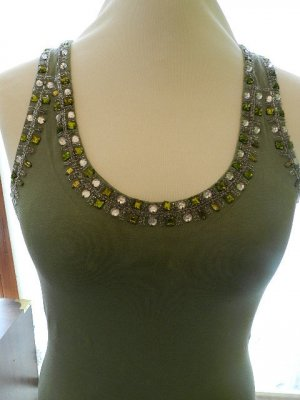 Lace Top grass green viscose