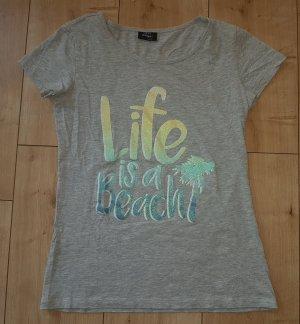 Shirt Tshirt Life is a Beach Glitzer Farbverlauf Sommer Strand Urlaub Palme Grau XS 34