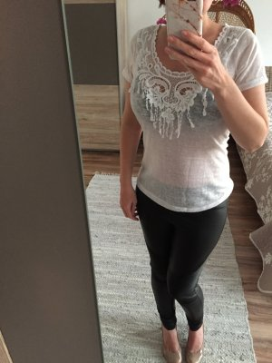 Shirt Tunika Bluse Folklore weiß spitze Fransen Boho xs 34