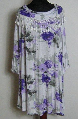Lang shirt wit-paars Gemengd weefsel