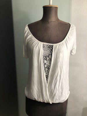 Shirt Tunika Wickel Look Spitze Gr 40 42 M / L weiß