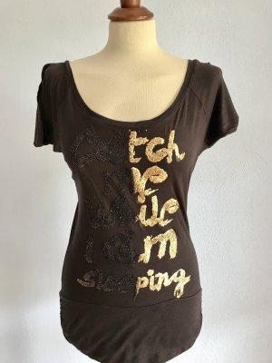 Shirt Tunika Zara Braun Gold Glitzer Gr. S / 36 Bluse Oberteil