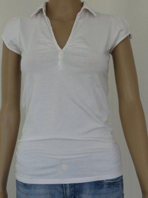 Shirt, V-Ausschnitt, Weiß