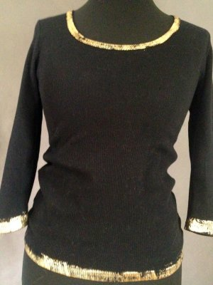 Ribbed Shirt black-gold-colored cotton