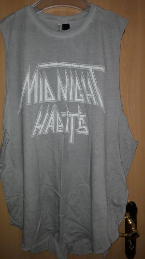 H&M Divided Top extra-large gris clair-blanc coton