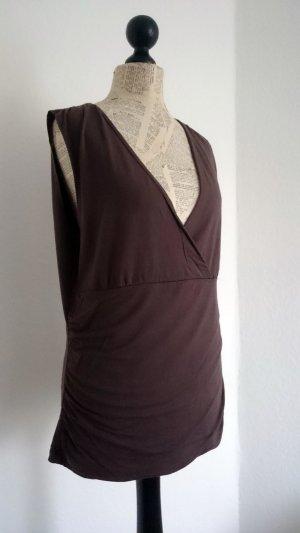 H&M Camicia stile impero marrone-marrone-rosso Tessuto misto