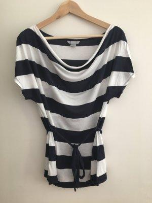H&M Camisa de rayas azul oscuro-blanco puro modal